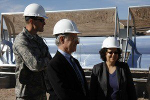 Nancy Sutley, chairwoman of the White House Council on Environmental Quality, and Tucson Mayor Jonathan Rothschild tour Davis-Monthan Air Force Base's alternative-energy projects. Sutley was here on Friday